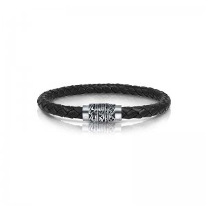 Italgem Steel Engraved Clasp Leather Bracelet