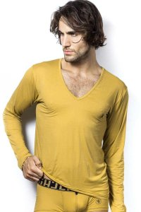 L'Homme Invisible Ambrosia V Neck Long Sleeved T Shirt Gold ...
