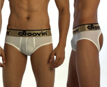 Groovin Bold Line Sports Jock Brief Jock Strap Underwear White JK0201