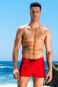 Sauvage Moderno Two Tone Square Cut Trunk Swimwear Red/Black