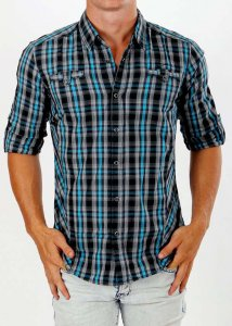 Deacon Ground Check Long Sleeved Shirt Aqua/Grey