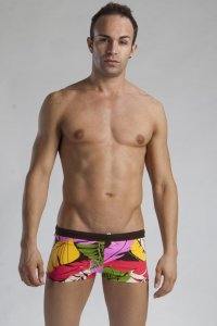 Geronimo Boxer Floral Square Cut Trunk Swimwear Red/Yellow/Orange 1116B1