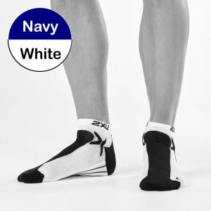 2XU Peformance Low Rise Socks Navy/White MQ1903E