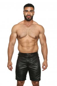 Black Unicorn Leather Shorts Black BU91