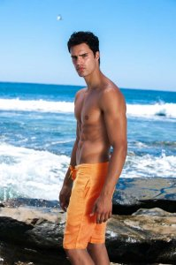 Sauvage Linen Resort Boardshorts Beachwear Orange M025