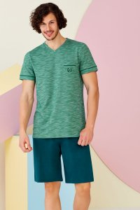 Doreanse Pocket Heather V Neck Short Sleeved T Shirt & Shorts Set Pyjamas Loungewear 4515