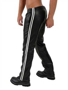 Mister B Leather Stripes Jogging Pants Black/White 100340