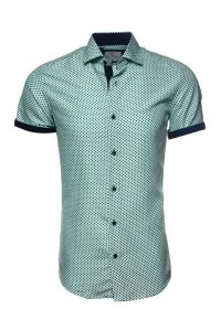 Suslo Couture Mini Dot Button Down Short Sleeved Shirt 40138