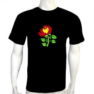 LED Electro Luminescence Rose Funny Gadgets Rave Party Disco Light T Shirt 12066