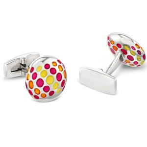 Duncan Walton Yordas Cufflinks Pink/Orange C2817