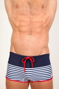 Pistol Pete Bardwalk Midcut Square Cut Trunk Swimwear Navy/Red MC544-494