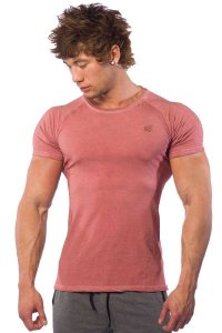 Jed North Vintage Washed Short Sleeved T Shirt Maroon