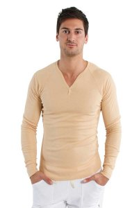 4-rth Thermal V Neck Long Sleeved T Shirt Sand