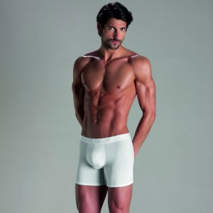 Minerva [2 Pack] Basic Long Meng Boxer Brief Underwear White 20518