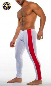 Go Softwear A J Sports Warm Up Tights Pants White Combo 8533