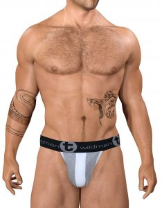 WildmanT Stretch Cotton Strapless Jock Big Boy Pouch Underwear Grey/White WT-COPO