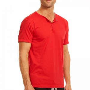 Papi Knit Jersey Henley Short Sleeved T Shirt Red 627105