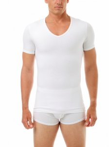 Underworks Shapewear Cotton Concealer V Neck Short Sleeved T Shirt White 978100