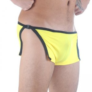 Don Moris Piping Open Sides Clip Boxer Brief Underwear Yellow/Black DM291103