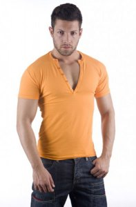 ES Collection V Neck Buttons Short Sleeved T Shirt Mango 415