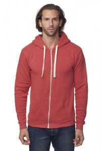 Royal Apparel Unisex Eco Triblend Fleece Full Zip Hoody Long Sleeved Sweater Eco Tri True Red 37050