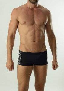 Geronimo Square Cut Trunk Swimwear Black 1627B2-1