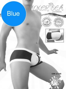 Icker Sea Chess Duotone Square Cut Trunk Swimwear Blue/White...
