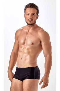 New Beach Sunga Ziper E Friso Square Cut Trunk Swimwear Black/Blue