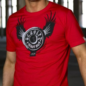 Schultz Button Fly Short Sleeved T Shirt Red