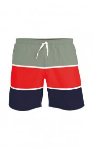 Litex Three Tone Shorts Swimwear Grey/Red/Dark Blue 52703