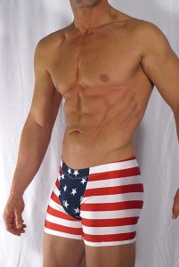 Buffedbod [Custom] USA Panel Front Square Cut Trunk Swimwear...