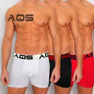 AQS [3 pack] Cyclist Trunk Boxer Underwear Red/Black/White U...