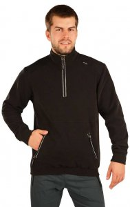 Litex Solid Stand Up Collar Zipper Neck Sweater Black 51335