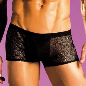 Excite Spider Fishnet Shorts Boxer Brief Underwear Black E43