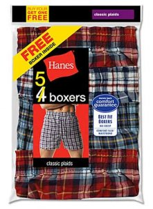 Hanes [5 Pack] Comfort Flex Tartan Loose Boxer Shorts Underwear Assorted V-838BX5