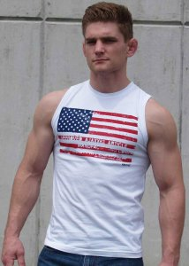 Ajaxx63 American Flag Athletic Fit Muscle Top T Shirt White ...