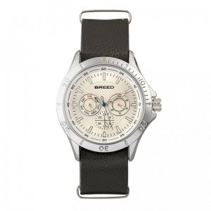 Breed Dixon Leather-Band Watch w/Day/Date - Silver/Dark Brow...