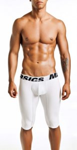 MaleBasics Performance Microfiber Long Boxer Brief Underwear White MBM04