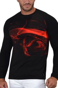 Roberto Lucca Digital Swirl Sweat Long Sleeved T Shirt Red/Black 10259-20174