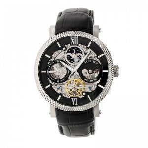 Heritor Automatic Aries Skeleton Leather-Band Watch - Silver...