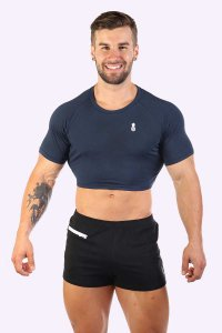 JJ Malibu Signature JJ Crop Top Short Sleeved T Shirt Navy J...