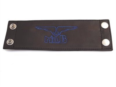 Mister B Leather Logo Wrist Wallet Blue 412710