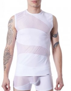 Lookme Shade Mesh Bars Panel Muscle Top T Shirt White 803-77