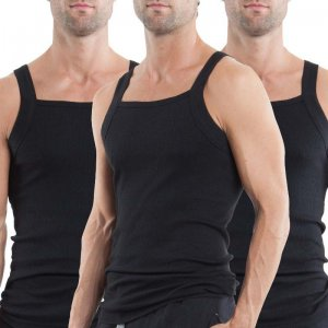 Papi [3 Pack] Premium Cotton Square Neck Tank Top T Shirt Black 559102-001