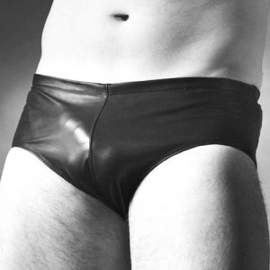 Whip It Leather Plain Slip Brief Underwear UN12