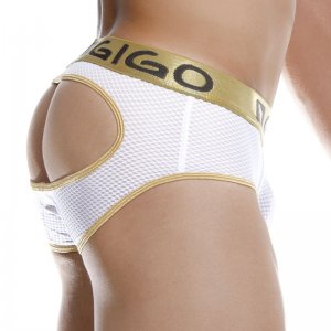 Gigo SEXY WHITE Brief Jock Strap Underwear G12086-WHITE