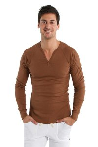 4-rth Thermal V Neck Long Sleeved T Shirt Chocolate