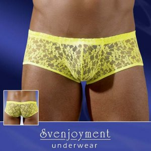 Svenjoyment Floral Lace Boxer Brief Underwear Neon Yellow 2131269