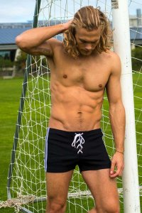 Sauvage Lace Up Ribbed Athletic Shorts Black/White