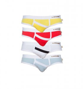 Marcuse [4 Pack] Peep Brief Underwear Yellow & Red & White & Sky